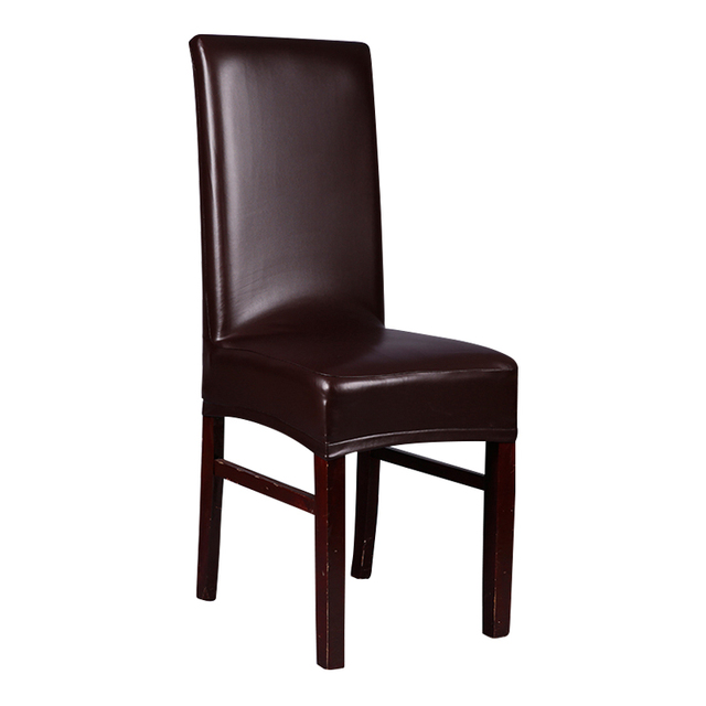 Captivating Seat Covers Office Chairs Brown Leather PU Chair Covers Waterproof Leather  Dining Chair Covers Black Silver