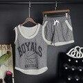 2016 Nueva Summer Casual sportswear chándales traje pantalón de verano conjuntos de las mujeres carta imprimir top + short pants 2 unids