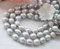 "3row 17"" 12mm NATURE GRAY RICE freshwater pearl necklace AAA"