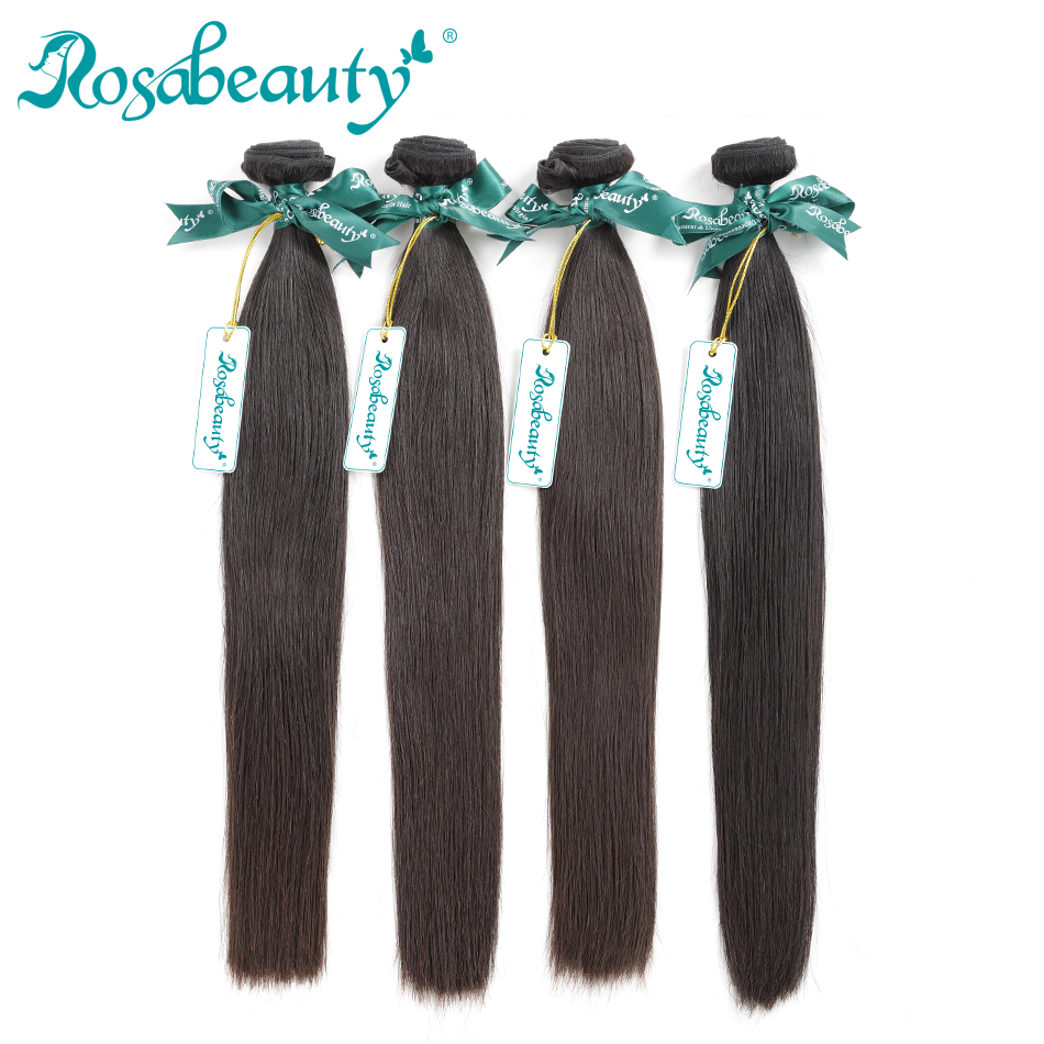 Rosabeauty 4 Bundles/Lot 10-28 Inch Natural Color Brazilian Straight Bundles Hair Remy Hair Weft 100% Human Hair Weave Grade 10A