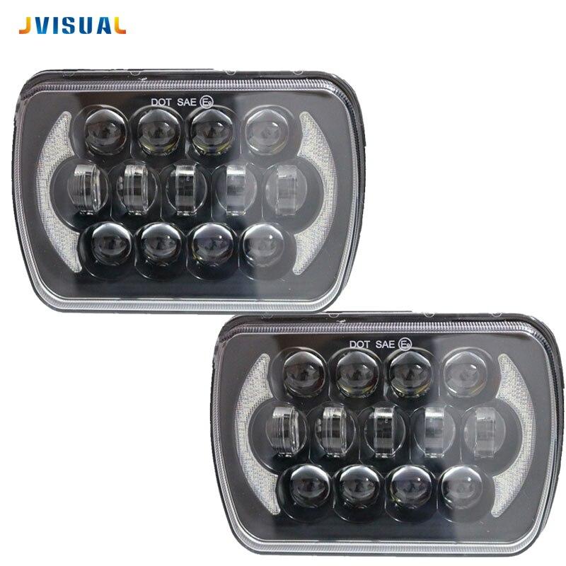 Pair 105 W 5X7 7X6 Inch Retangular Feixe Farol Com High How DRL Square Headlight for