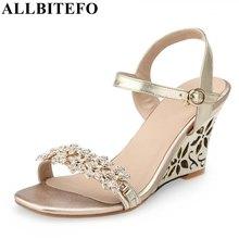 ALLBITEFO moda Rhinestone cuñas plataforma del talón de las mujeres zapatos de fiesta de verano tacones altos mujeres sandalias mujer sandalias tamaño: 34-43