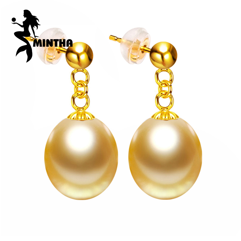 MINTHA 18K Gold earrings pearl Jewelry,Pearl classic 18k yellow gold Jewelry,long earrings for women with gold color beads 18k pearl earrings ear pins with rhinestones decor for women