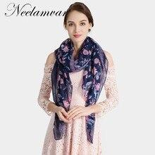 13ff1ef5d75e Neelamvar nouvelle mode foulards châles d impression de fleur de voile de coton  écharpe femmes