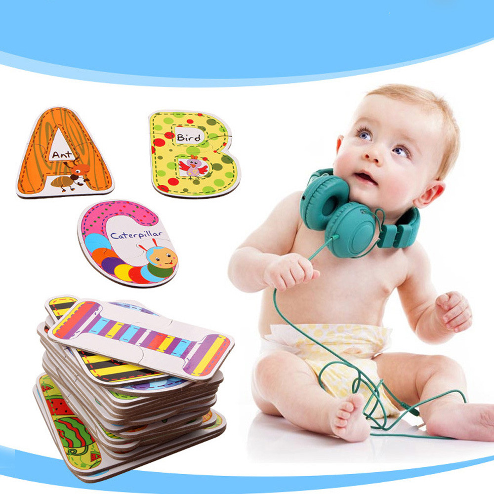 Baby Early Educational Toys Wooden Letter Alphabet Word DIY Puzzle Learning Toys For Girls Boys Kids  Baby Infant Baby Toys
