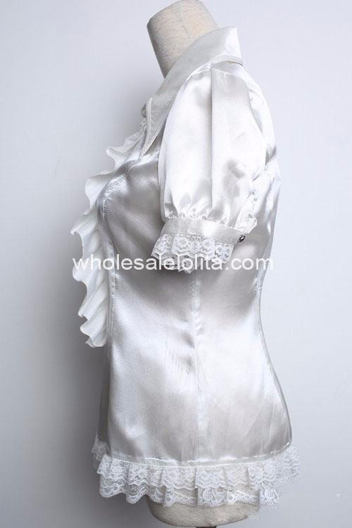 Изготовленная на заказ блузка белое кружевное с короткими рукавами Готическая Лолита Блузка кружевная Лолита рубашка Готическая блузка