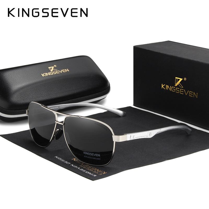 KINGSEVEN 2020 Brand Men Aluminum Sunglasses Polarized UV400 Mirror Male Sun Glasses Women For Men Oculos de sol 12