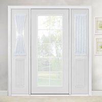 Linen Textured French Door Curtain White Sidelight Sheer Curtain For Front Door With Tieback By NICETOWN