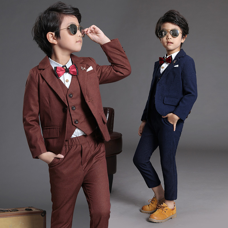 Children suit 2018 fashion children's clothing autumn and winter boys solid color suit performance clothing three / piece suit children s suit 2018 fashion england wind children s clothing autumn and winter boy plaid suit performance clothing