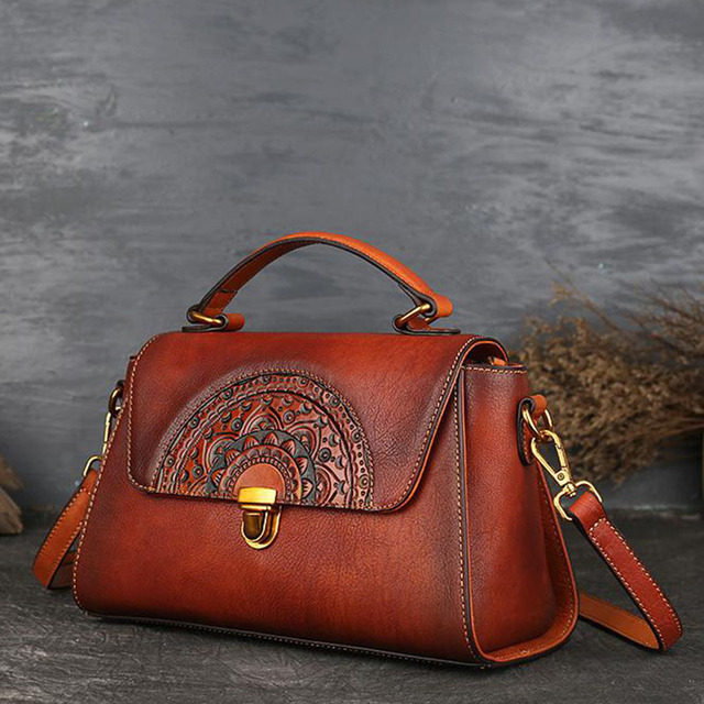 New Embossed Crossbody Shoulder Bags For Women Natural Leather