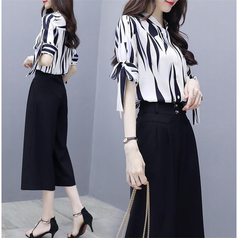 Summer new short sleeve Bows Print Loose blouses tops + open wide leg pants fashion suit two piece clothing set women NS979