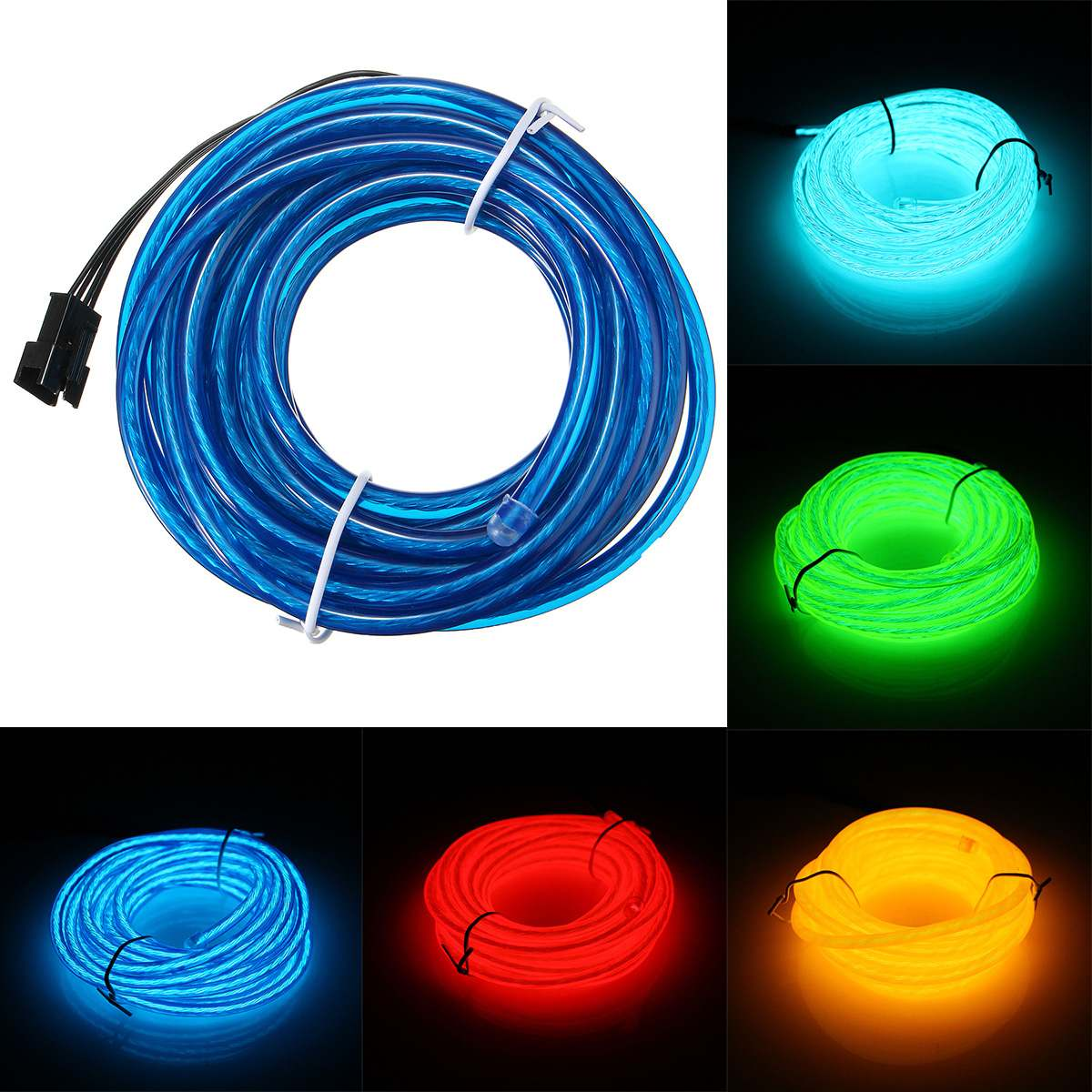 Smuxi 5M Neon Light Glow <font><b>EL</b></font> Wire LED Strip Light Tube 5MM <font><b>Car</b></font> Dance Party Bar Decor With <font><b>Controller</b></font> DC3V image