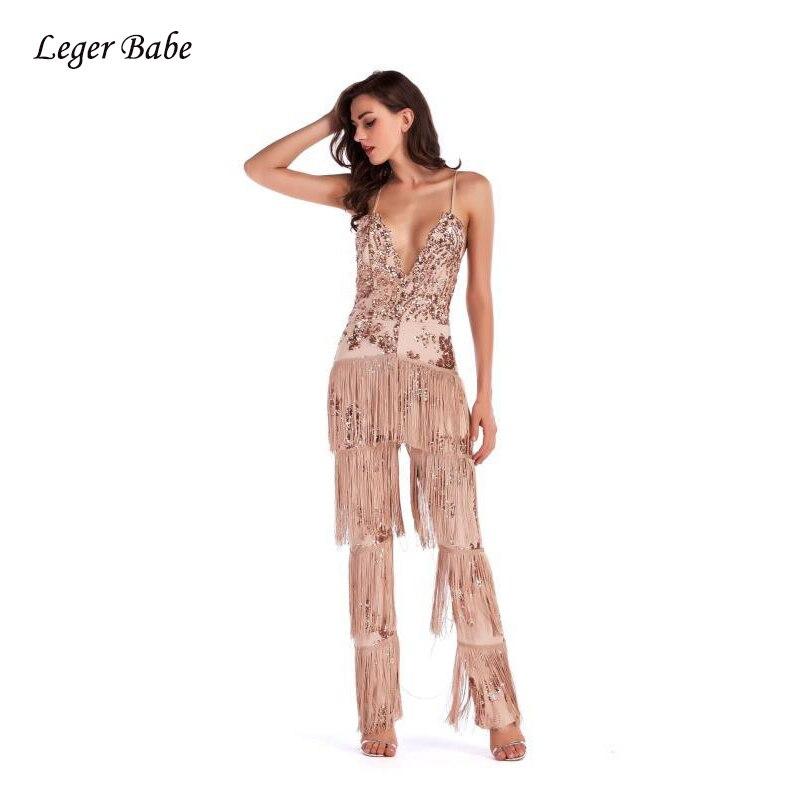 12adbd1f28 Leger Babe 2018 Women Sequins Fringe Jumpsuit Glitter Sexy V Neck Backless  Tassels Spaghetti Strap Celebrity