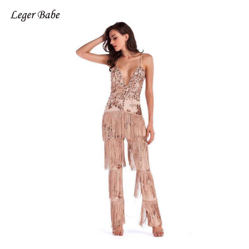 Leger בייב 2018 נשים פאייטים פרינג 'סרבל גליטר סקסי V צוואר ללא משענת גדילים ספגטי רצועת סלבריטאים מסיבת ארוך סרבל
