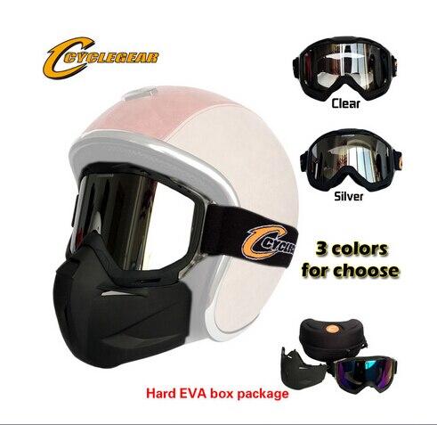 Haute Qualité Cyclegear Moto Masque Motocross Amovible Lunettes Parfait Pour Le Visage Ouvert Capacetes Casco Ou Vintage Casques