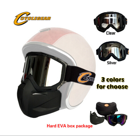 a4ee4da03ec7 High Quality Cyclegear Motorcycle Mask Motocross Detachable Goggles Perfect  For Open Face Capacetes Casco Or Vintage Helmets
