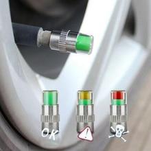 4PCS Cars Tire Pressure Monitor Auto Alert Valve Stem Caps Sensor Indicator Eye Monitoring System Nozzle Warn Cap