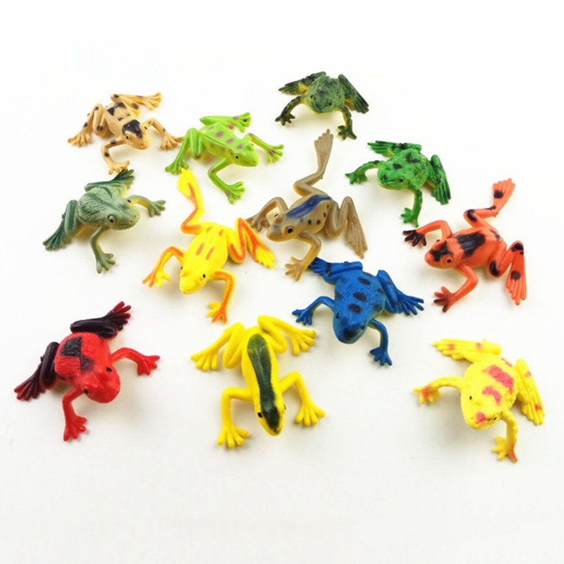 12Pcs/Pack Frogs Model Action Toy Figures Learning Education Toys Gift For Children