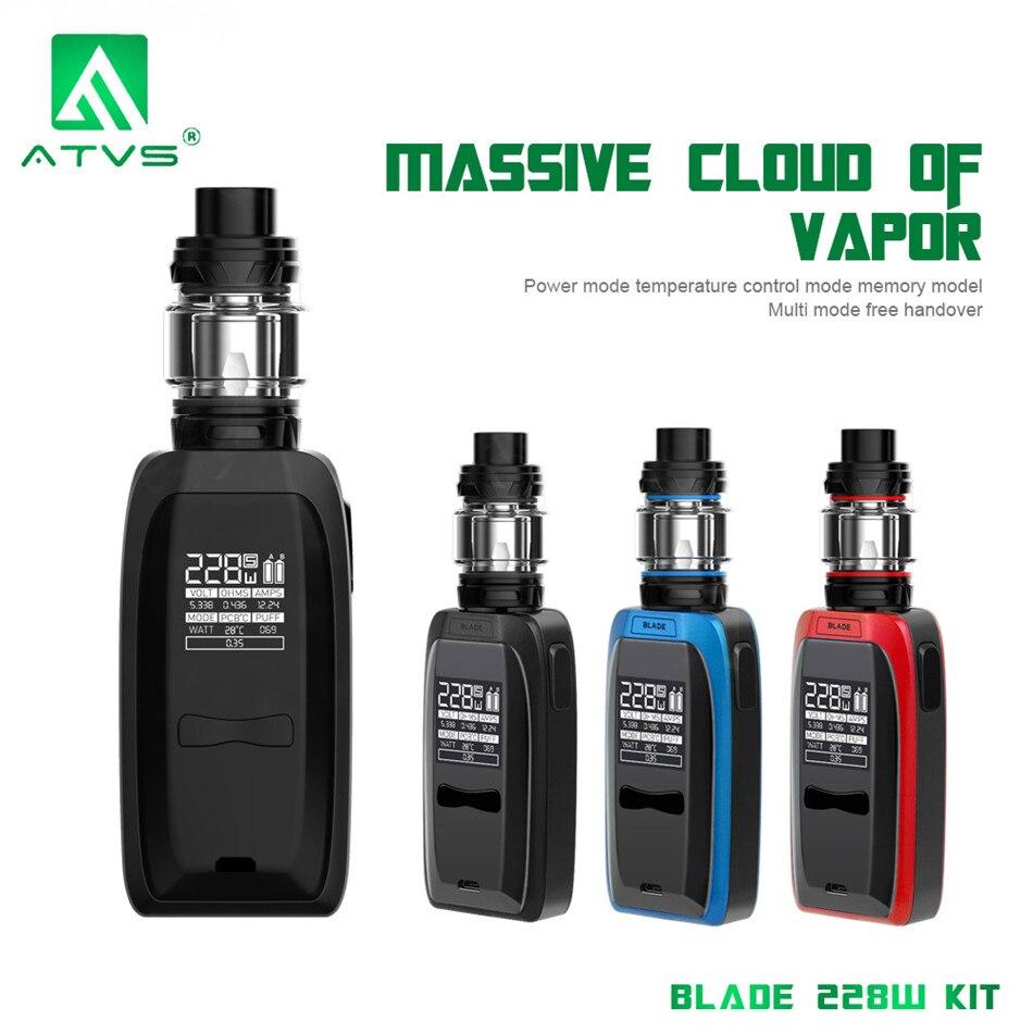 Original AVTS nouvelle lame de Cigarette électronique 228 W boîte réglable Mod kit Vape 18650 batterie 5 ml capacité 510 fil vaporisateur