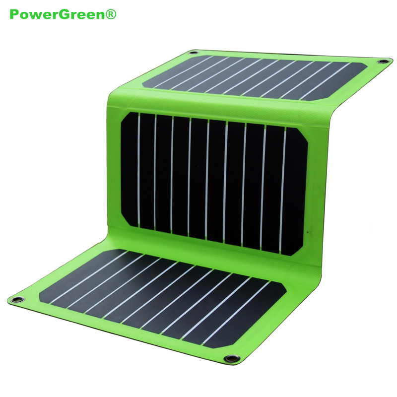 Folding Solar Panel Charger PowerGreen 21 Watts Solar Power Kits Waterproof Powerbank Battery Backup Charger for Mobile Phone