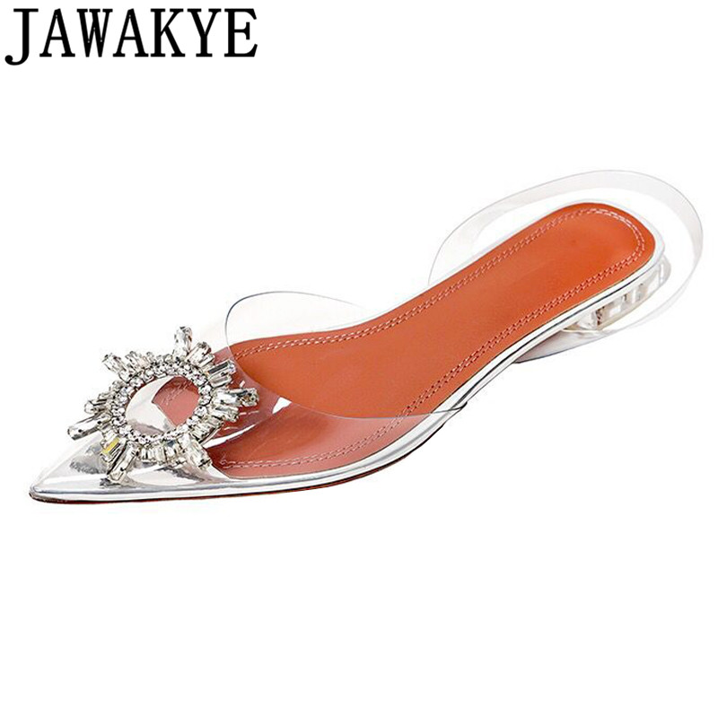 Transparent PVC sandals women pointed clear crystal flat heel shoes sexy rhinestone 2019 new summer shoes