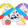 Hot new crianças todders bebê impermeável manga comprida blusa da arte bib burp babadores avental dos desenhos animados macio alimentação baberos bavoir roupas