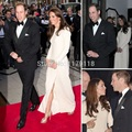 Elegante Nuevo 2017 Kate Middleton Sexy Bateau Manga Larga Plisado Hendidura Lateral Piso de Longitud Gasa Vestidos de Noche Vestidos de La Celebridad