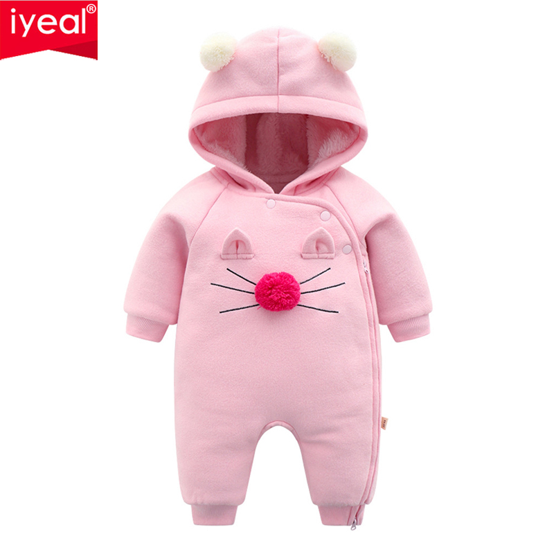 IYEAL Warm Baby Rompers Winter Baby Clothing for Newborns Fleece Costume Baby Cotton-padded Overalls Jumpsuits Baby Girl Clothes baby costume winter boy girl clothes bebes cotton jumpsuit clothing for newborns baby romper next overalls for children bebes