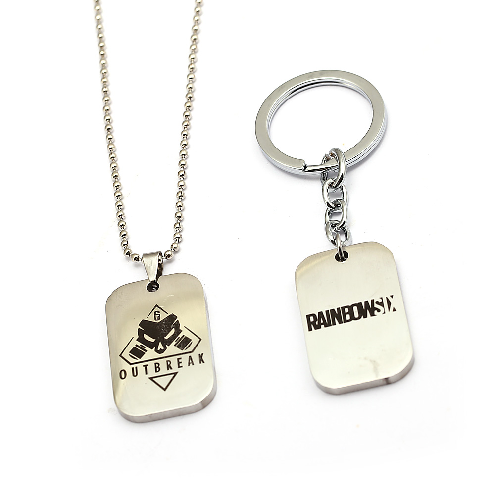 HSIC Gioco Rainbow Six Assedio Portachiavi Ciondolo In Metallo FOCOLAIO Tom Clancy Rainbow Six Dog Tag Pendant Chaveiro llaveros