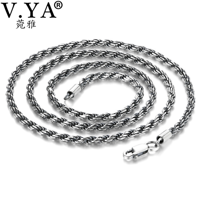 V.YA Retro Twist Rope Chain Necklace for Men Women 925 Sterling Silver Necklace Mens Black Thai Silver Jewelry 925 sterling silver women lapis beads yellow chalcedony peacock pendant necklace rope chain thai silver choker jewelry ch057272