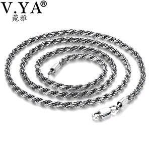 Image 5 - V.YA Retro lina kręcona łańcuszkowy naszyjnik dla mężczyzn kobiety 925 srebro naszyjnik mężczyzna czarny tajski biżuteria srebrna