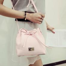 Sweet fashion handbags 2017 new women bag quality pu leather drawstring bucket bag Korean casual and simple messenger bag