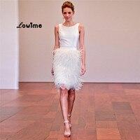 Elegant Short White Ostrich Feather Skirt Coctail Party Dress Luxury Cocktail Dresses For Teens Graduation Jurken