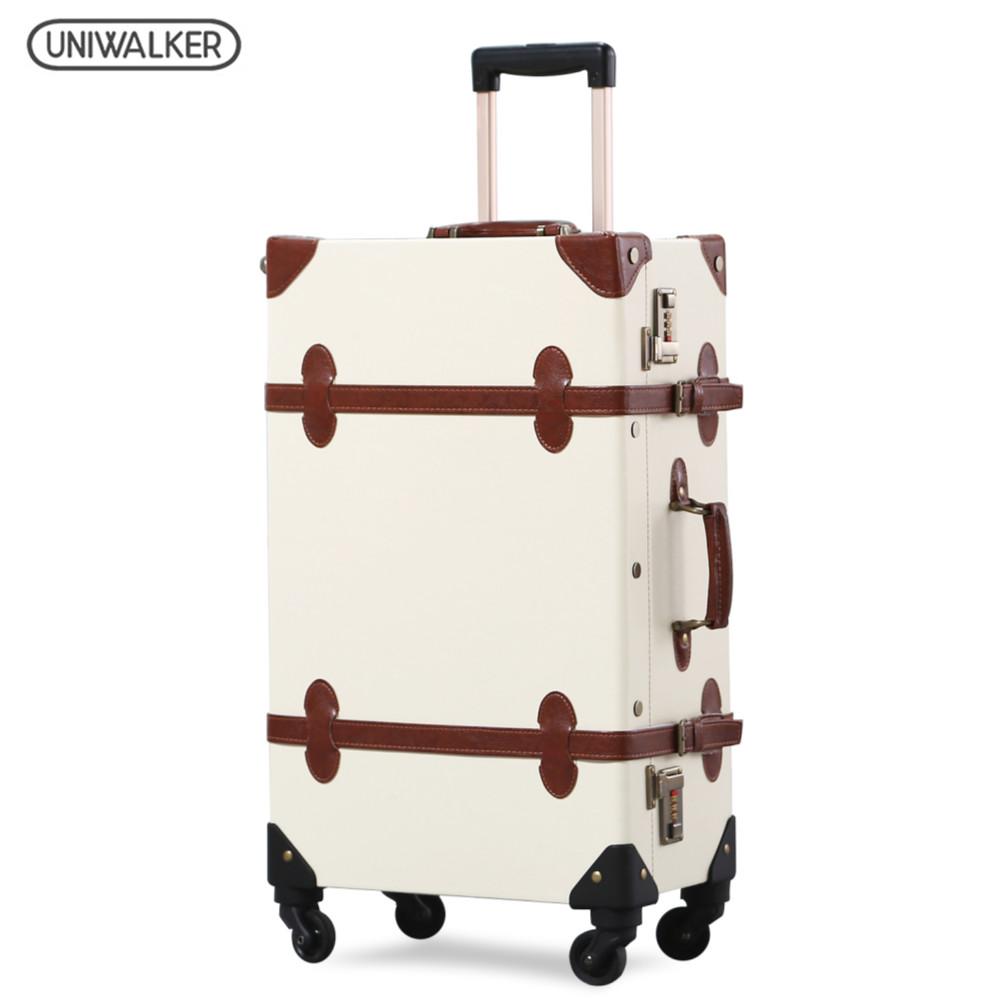 UNIWALKER Woman&Men Beige Vintage Rolling Luggage Trolley Travel Bags Carry on Luggage with 360 Spinner Aluminum Alloy Rod