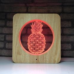 3d led lampka nocna drewna ziarna 7 kolor dotykowy kreatywny światło sypialnia akrylowe lampa stołowa ananas