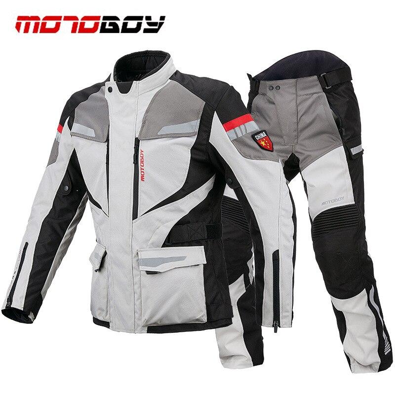 MOTOBOY Breathable Motorcycle Jacket Wearable Riding Pants Pantalon Trousers Motocross Suit 11 Protectors Waterproof Warm Layer