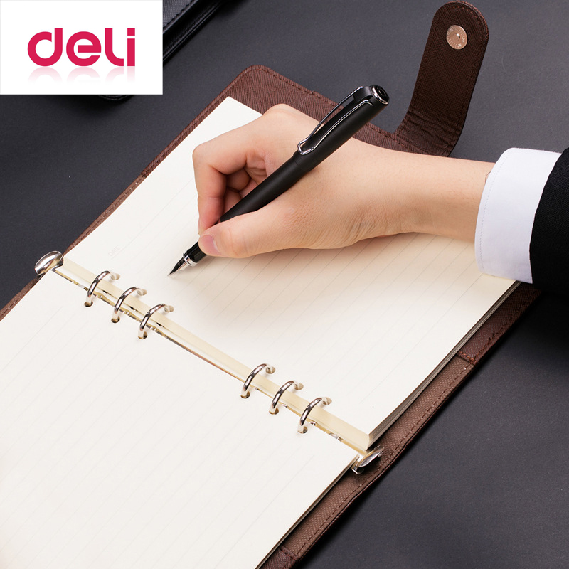 Deli 3151 Spiral Notebook A5 Business Composition Book 100 Sheets Black Brown Detachable Office Leather Hard CopybookDeli 3151 Spiral Notebook A5 Business Composition Book 100 Sheets Black Brown Detachable Office Leather Hard Copybook