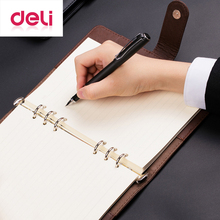 Deli 3151 Spiral Notebook A5 Business Composition Book 100 Sheets Black Brown Detachable Office Leather Hard Copybook