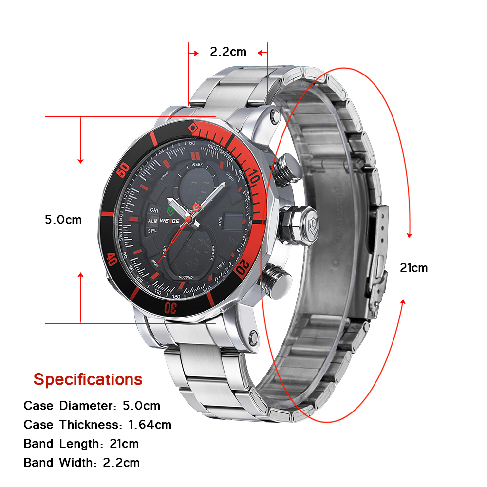 WEIDE relojes men watches top brand luxury alarm clock stainless steel sport led electronic wrist watches waterproof watches in Quartz Watches from Watches