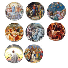 8pcs/set Jesus Commemorative Coin Set 999.9 Silver Plated Challenge Gifts Coins Collectibles Home Decoration Accessories