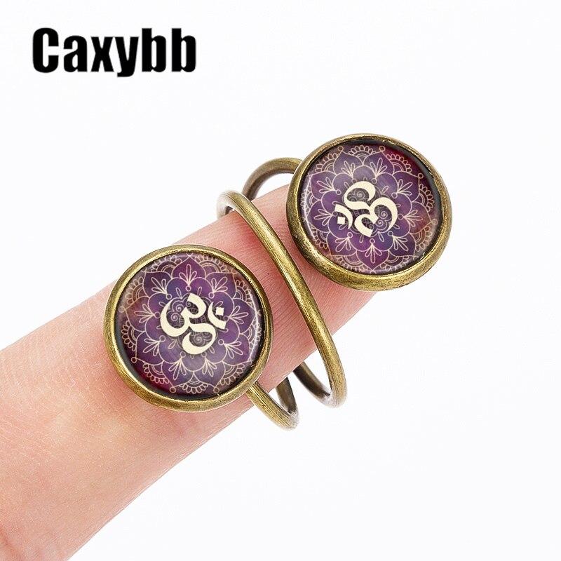 caxybb hot sell henna mandala symbol fashion rings charm art photos cabochon glass dome online sale - Sell Wedding Ring