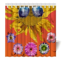 Hommomh 샤워 커튼 무게 후크와 방수 패브릭 욕실 다채로운 꽃 해바라기 안경 나뭇결
