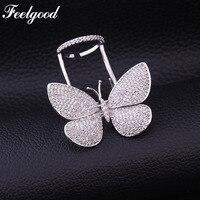 Feelgood Luxe Sieraden Fashion Ontwerp Vlinder Verstelbare Ring Micro Pave AAA Zirconia Dubbele Ringen Voor Vrouwen Bruiloft