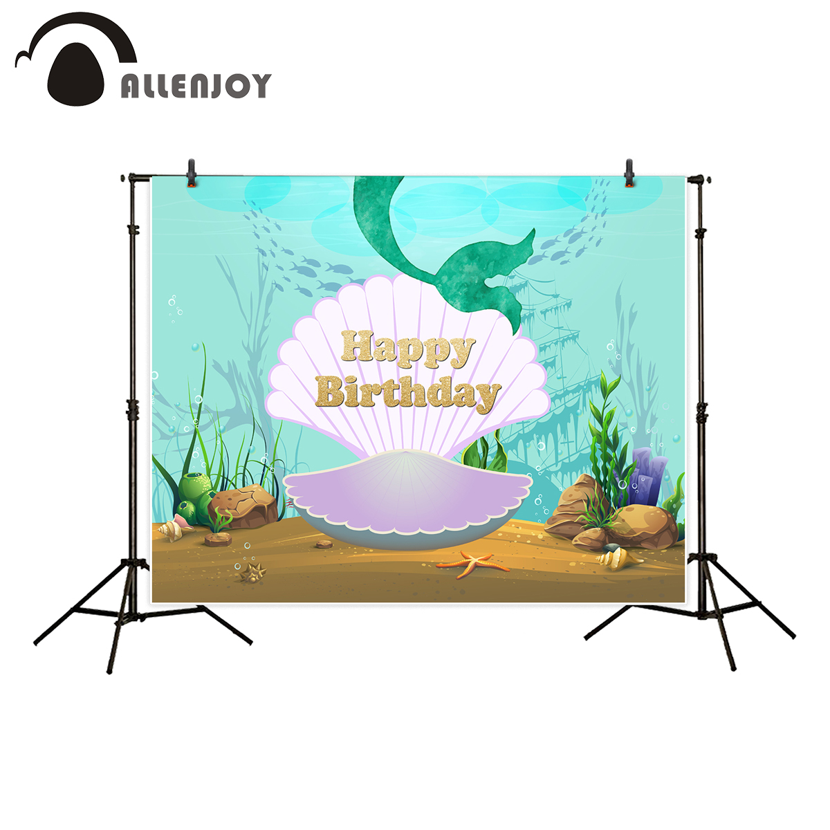 Allenjoy photography backdrops birthday cartoon seabed theme party background photo studio photocall decor photobooth new
