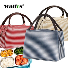 WALFOS Portable Lunch Bag Canvas Stripe Insulated Cooler Bags Thermal Food Picnic Lunch Bags Kids Lunch Box Bag Tote цена 2017