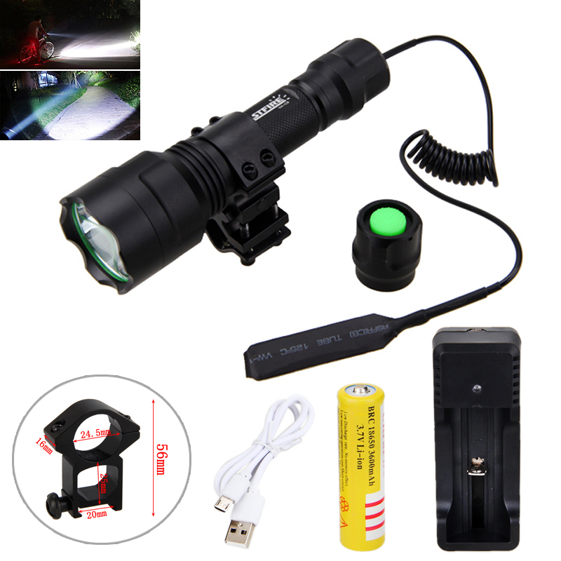 Tactical Hunting Torch T6 White LED Light Hunting Flashlight+Rifle Mount +Remote Pressure Switch+1*18650 Battery+USB Charger
