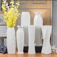 White porcelain vase TV cabinet living room floor vase decoration simple modern flower implement can be installed water