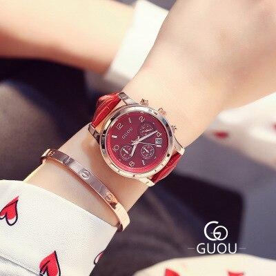 Top Brand GUOU Watch Women Famous WristWatch Fashion Three eyes Luxury Women Watches Waterproof Quartz Watch relogio feminino in Women 39 s Watches from Watches