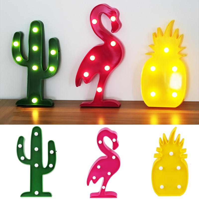 3D LED Lamba Gece Işıkları Flamingo Işık Noel Süslemeleri için Ananas Kaktüs Masa Lambası Parti Yenilik LED Pil Aydınlatma
