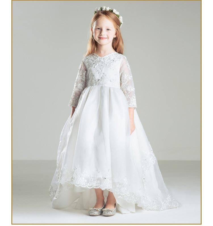 Flower Girls Dresses For Wedding Gown Lace Prom Dress Children Long Holy Communion Dresses 3/4 Sleeves Mother Daughter Dresses grey side pockets cold shoulder long sleeves dresses